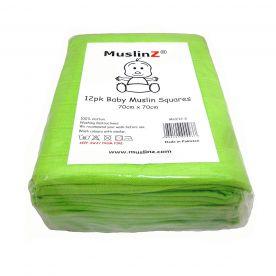 Muslinz Pack of 12 Premium Muslin Squares - Green