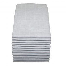 Muslinz Pack of 12 Premium Muslin Squares - Grey