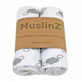 Muslinz Pack of 2 Large Muslin Squares - Grey Cloud Print