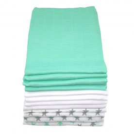 Muslinz Pack of 12 Premium Muslin Squares - Mint Star Combo