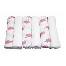 Muslinz Pack of 6 Bamboo/Cotton Muslin Squares - White/Lavender Cloud Print