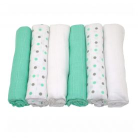 Muslinz Pack of 6 Baby Muslin Squares - Mint/Grey Combo