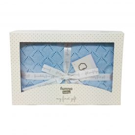 Funna Baby Punto Baby Blanket Gift Set - Blue