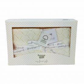 Funna Baby Punto Baby Blanket Gift Set - Cream