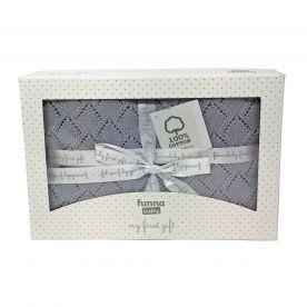 Funna Baby Punto Baby Blanket Gift Set - Grey
