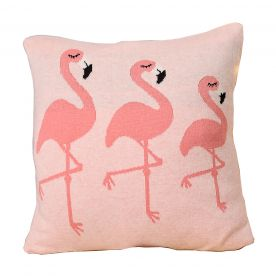 Bizzi Growin Pink Flamingos Knitted Cushion