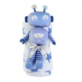 Bizzi Growin Robot Toy & Blanket Gift Set - Blue