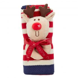 Bizzi Growin Rudolf The Reindeer Rattle and Blanket Gift Set