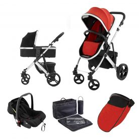 Riviera Plus 3 in 1 Silver Travel System - Black/Coral Red